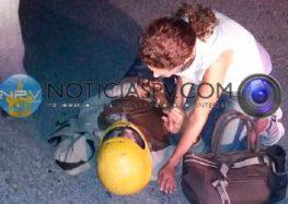Derrapo motociclista en avenida de ingreso a Nuevo Vallarta