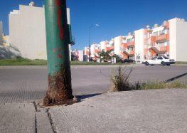 Siguen cayendo postes corroídos de luminarias en Palma Real